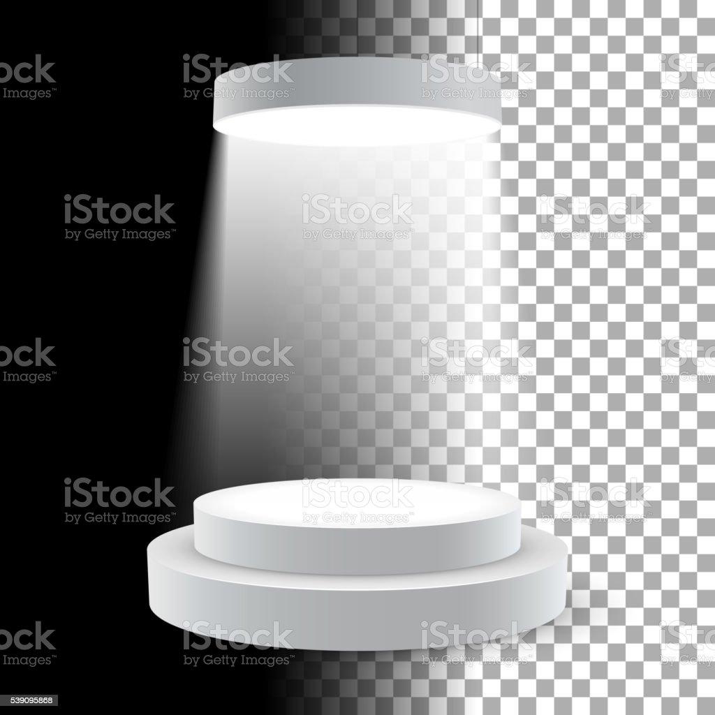 Illuminated white round podium vector art illustration