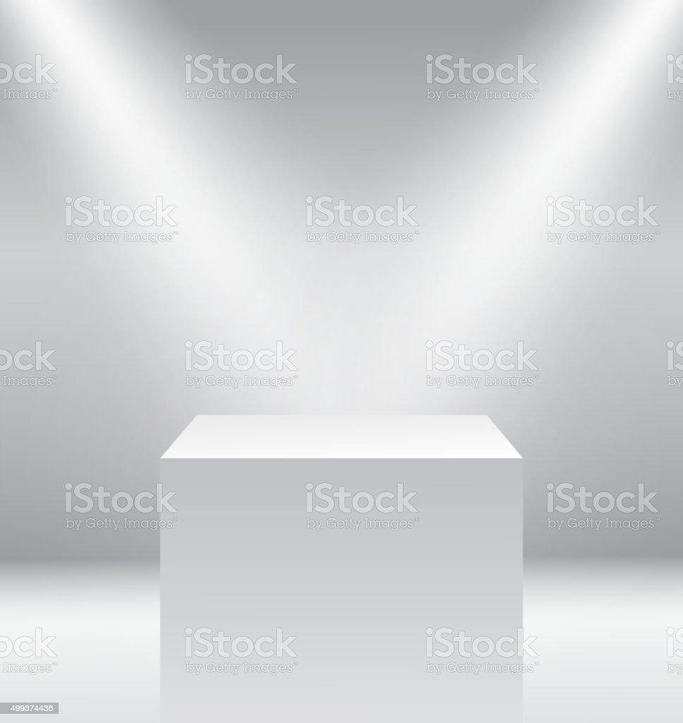 illuminated winners podium isolated on grey background vector art illustration