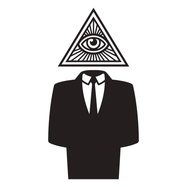 illuminati conspiracy illustration - freemasons stock illustrations