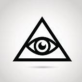 Illuminati icon isolated on white background.