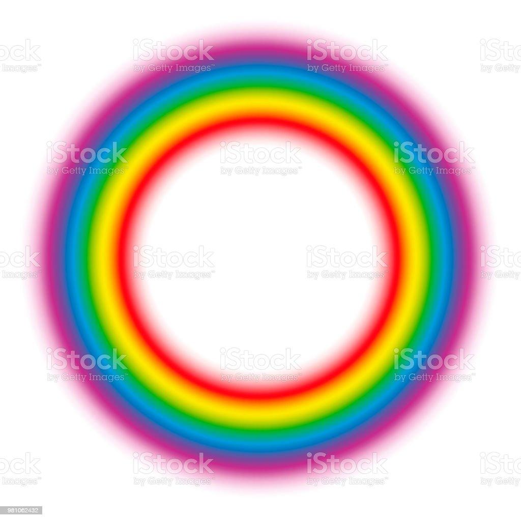 Leuchtenden Regenbogen Farbverlauf Aura Ring. Feinstoffliche Körper Kreisen. Vektor-Illustration auf weißem Hintergrund. – Vektorgrafik