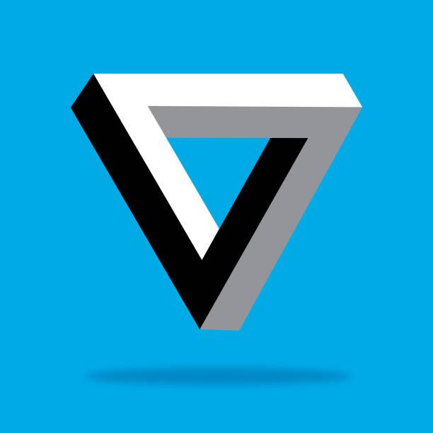 illusion triangle icon - превращаться stock illustrations