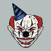 Illustartion of cartoon scary clown