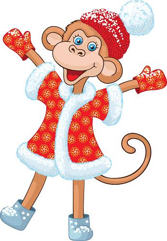 Illustraiton of comical monkey new year symbol.