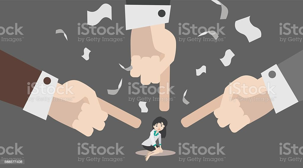 illustrate of Fingers pointing at a business woman vector art illustration