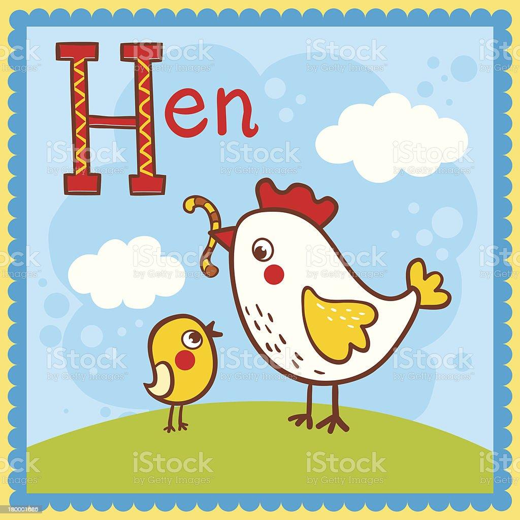 도 알파벳 문자 H 및 헨. royalty-free 도 알파벳 문자 h 및 헨 교습에 대한 스톡 벡터 아트 및 기타 이미지