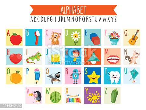 Illustrated Alphabet Letters And Cartoon Objects