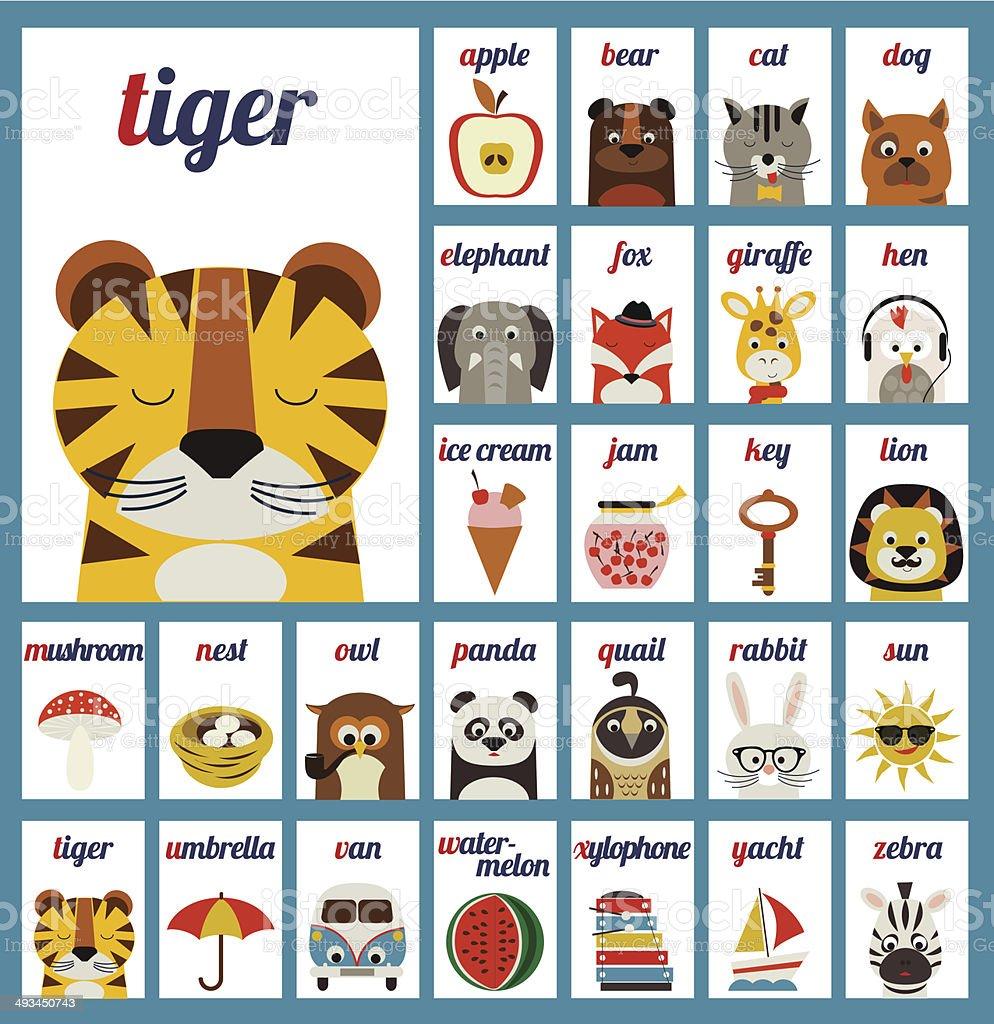 Illustrated alphabet letters vector art illustration