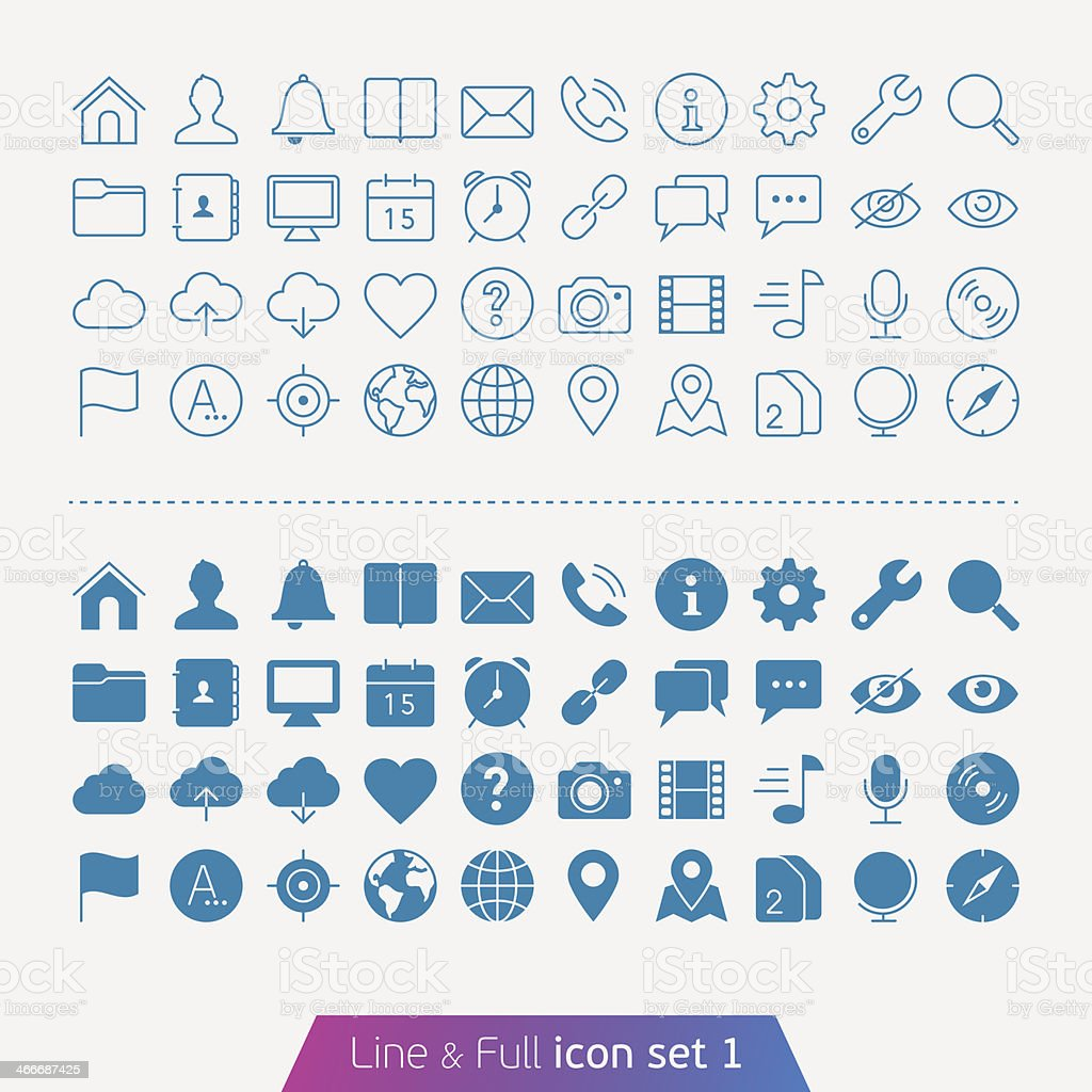 Illustrated basic set of web and mobile icons Trendy thin icons for web and mobile. Line and full versions. Badge stock vector