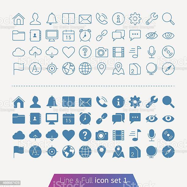 Illustrated Basic Set Of Web And Mobile Icons Stock Illustration - Download Image Now