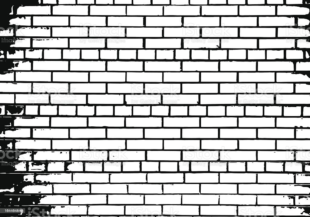Illustrated black and white brick wall background vector art illustration