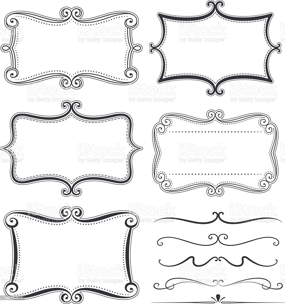 Illustrated Black Funky Frames On A White Background Stock Vector ...