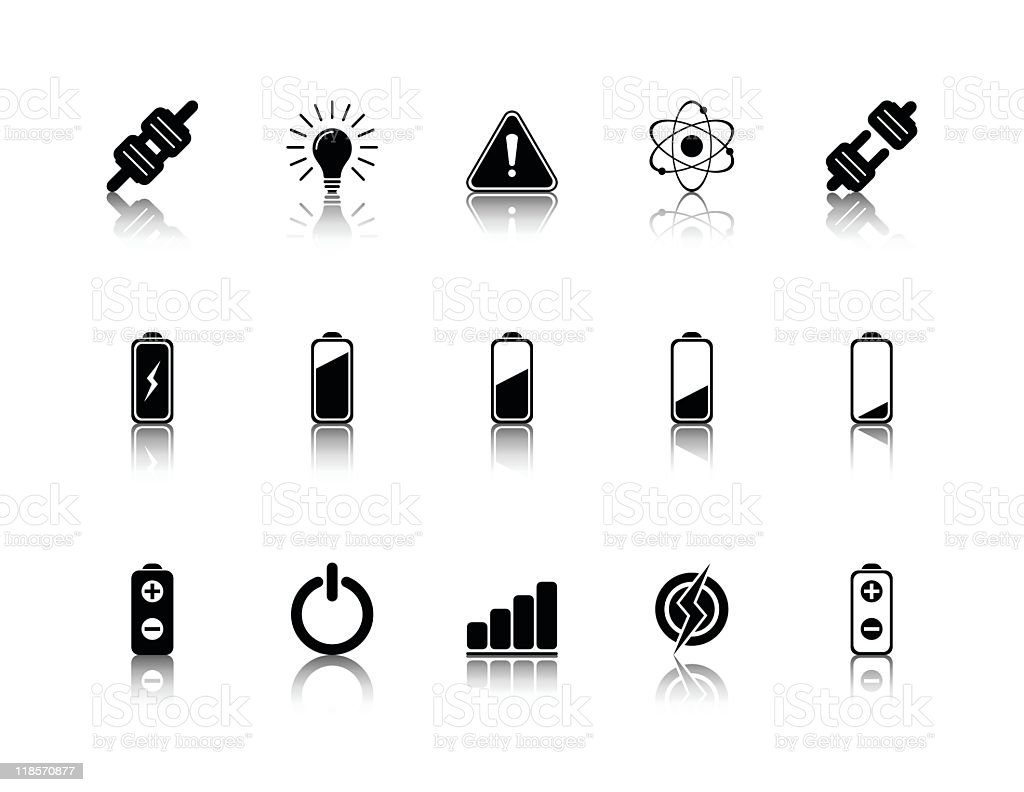 Illustrated black icons for electricity vector art illustration