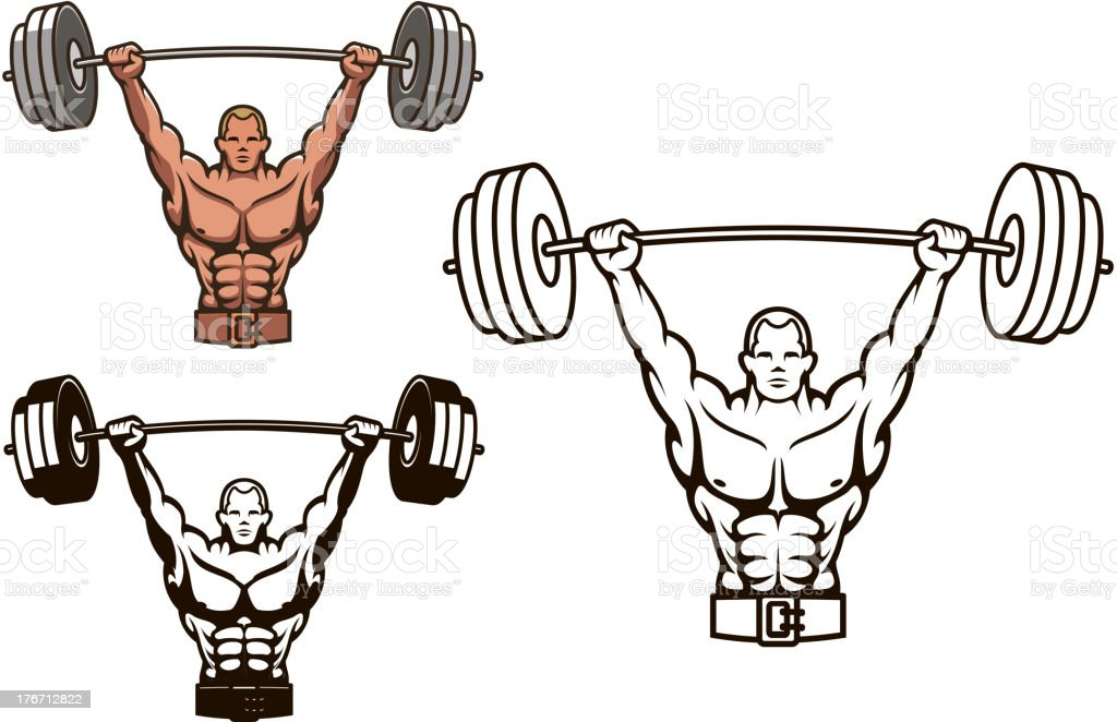 Illustrated bodybuilder with barbell icons vector art illustration