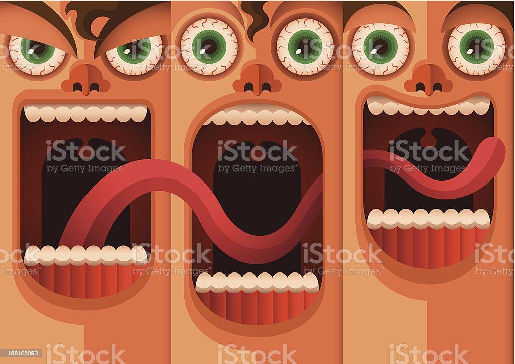 Illustrated cartoon of a boys funny facial expressions vector art illustration