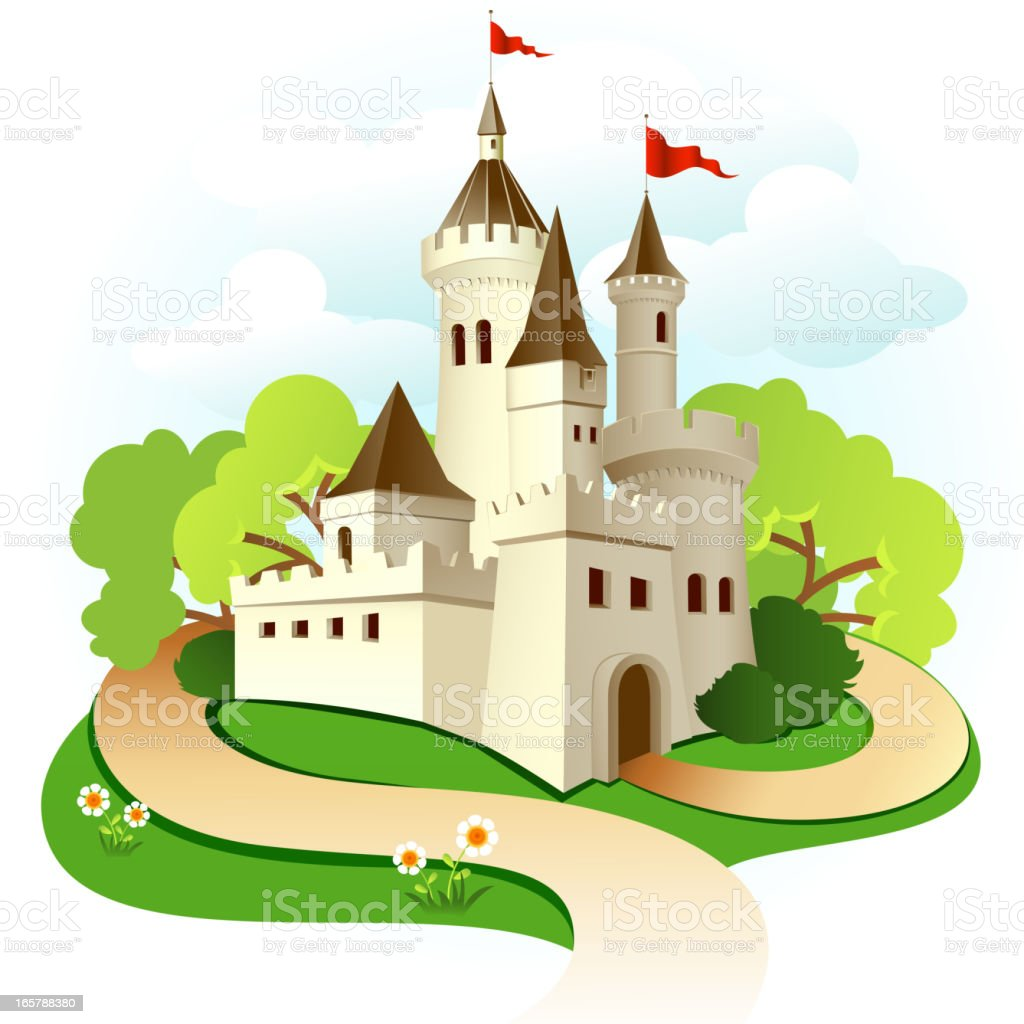 Illustrated castle with trees and sky royalty-free illustrated castle with trees and sky stock vector art & more images of allegory painting