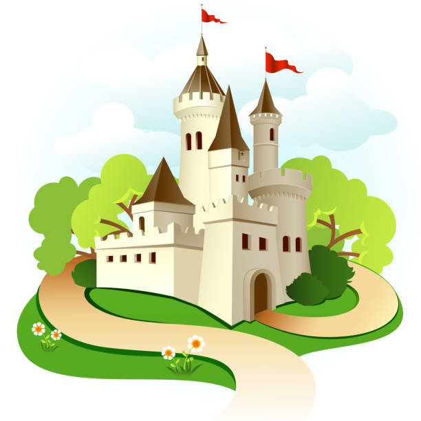 illustrated castle with trees and sky - castle stock illustrations