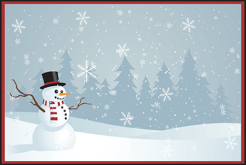 Illustrated Christmas greetings card with snowman