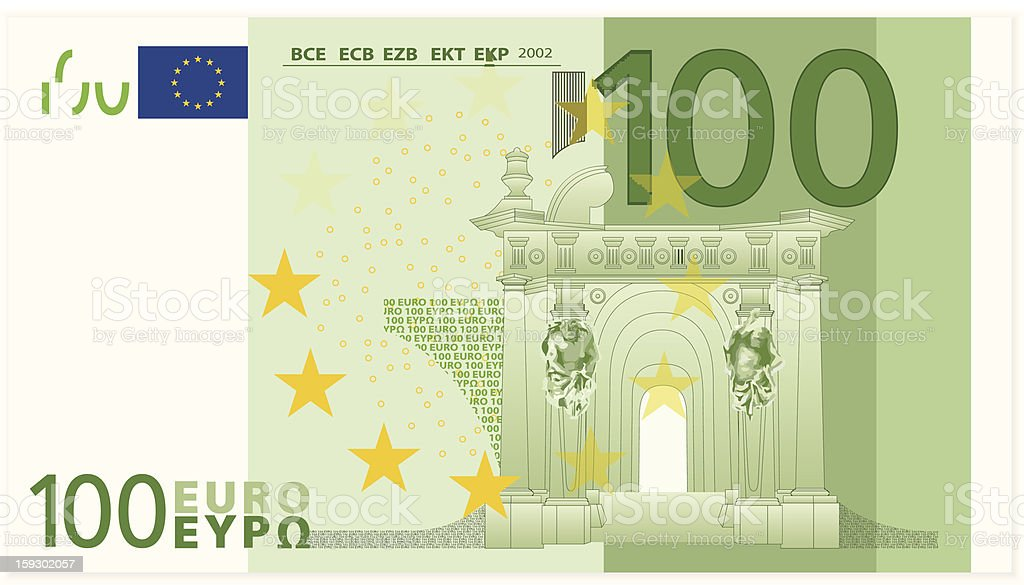 Illustrated closeup of a one hundred dollar euro banknote royalty-free stock vector art