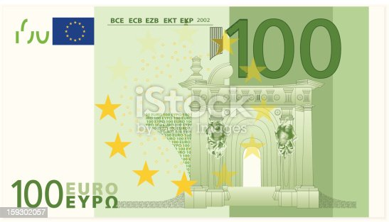 istock Illustrated closeup of a one hundred dollar euro banknote 159302057