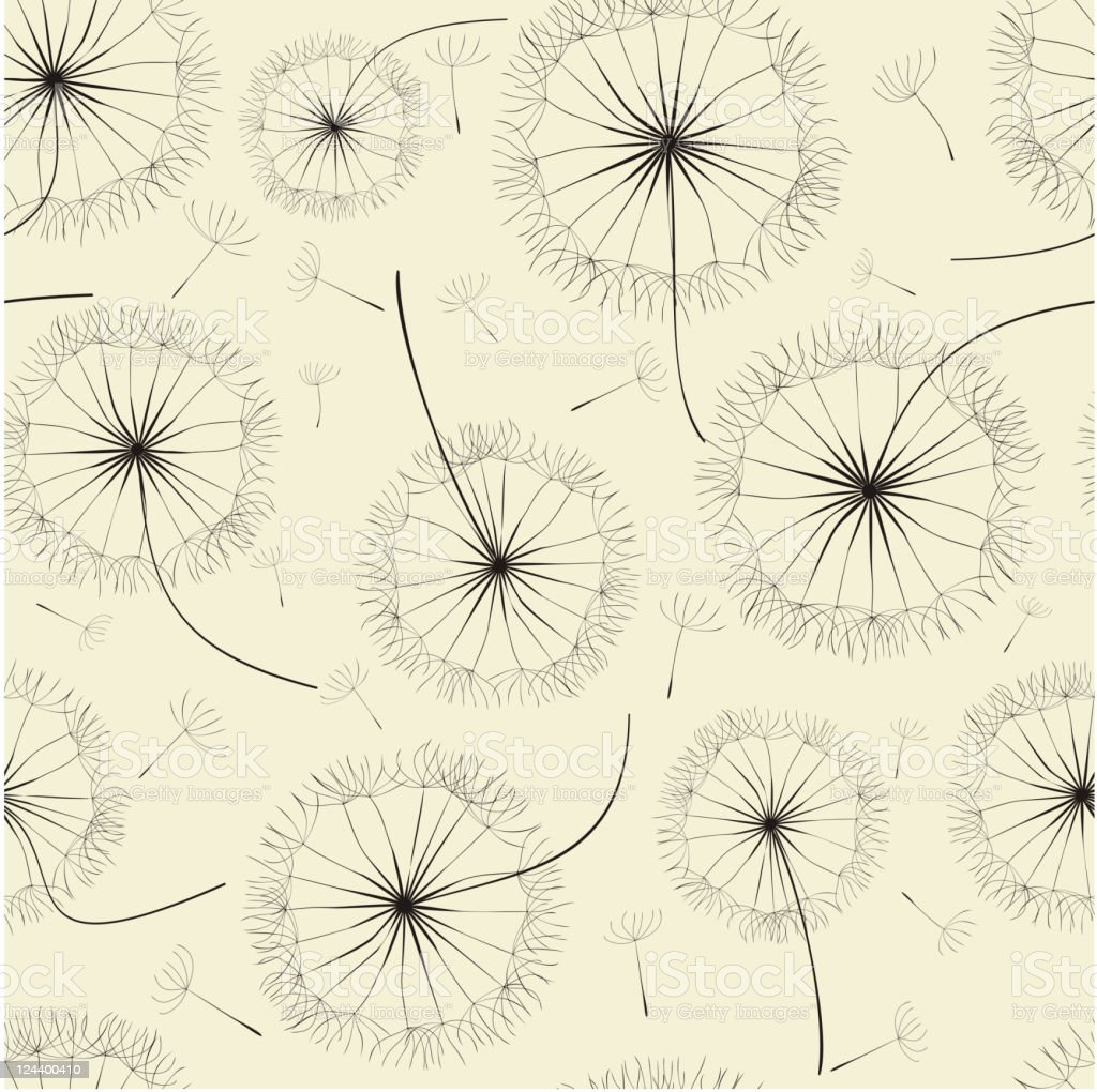 Illustrated dandelions with floating seeds background  royalty-free stock vector art