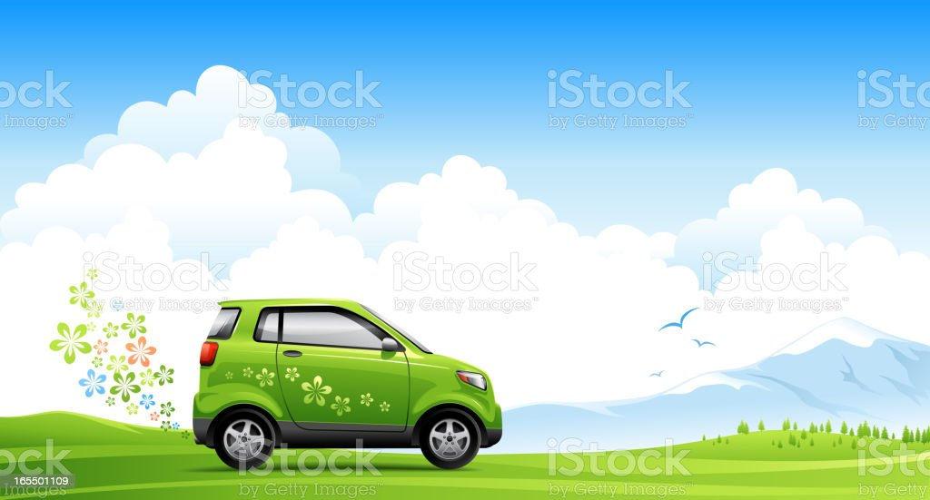 Illustrated energy saving car on spring road vector art illustration