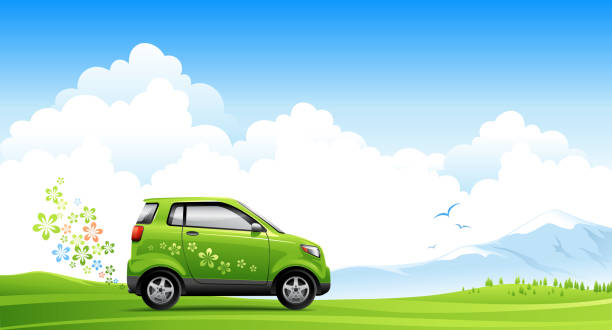 stockillustraties, clipart, cartoons en iconen met illustrated energy saving car on spring road - waterstof