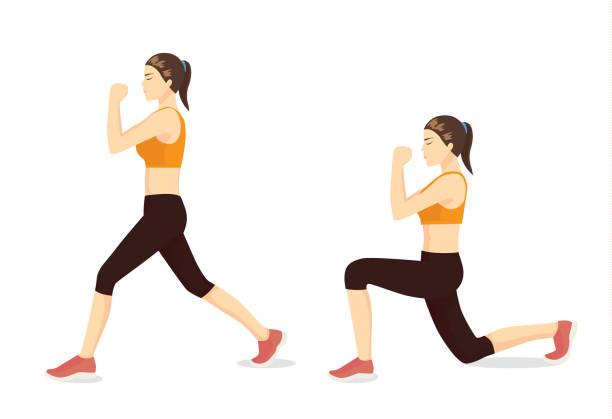 Übungskatalog durch gesunde Frau dabei Ausfallschritte Training in 2 Schritten dargestellt. – Vektorgrafik