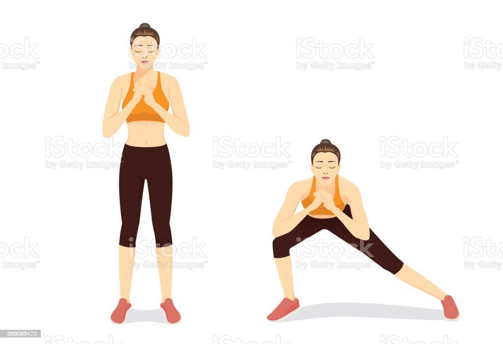 Übungskatalog durch gesunde Frau dabei Seite Ausfallschritte Training in 2 Schritten dargestellt. – Vektorgrafik