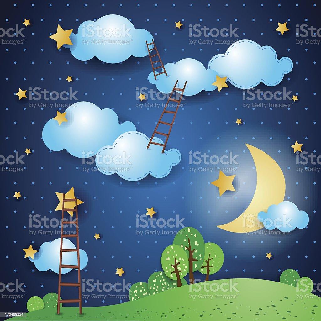 Illustrated fantasy landscape at night vector art illustration