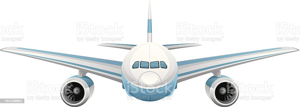 Illustrated Front View Of A Blue And White Jet Plane Stock ...