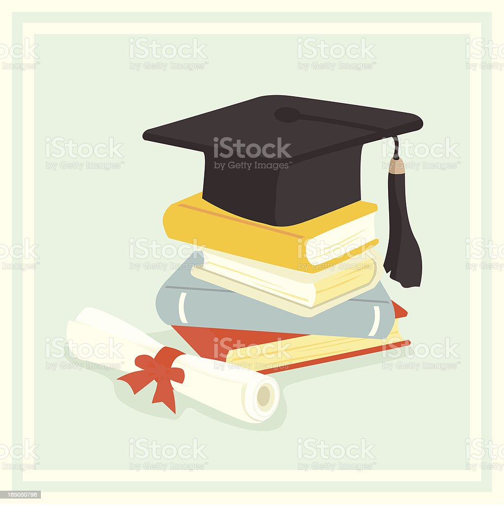 Illustrated graduation cap resting atop a stack of books royalty-free stock vector art