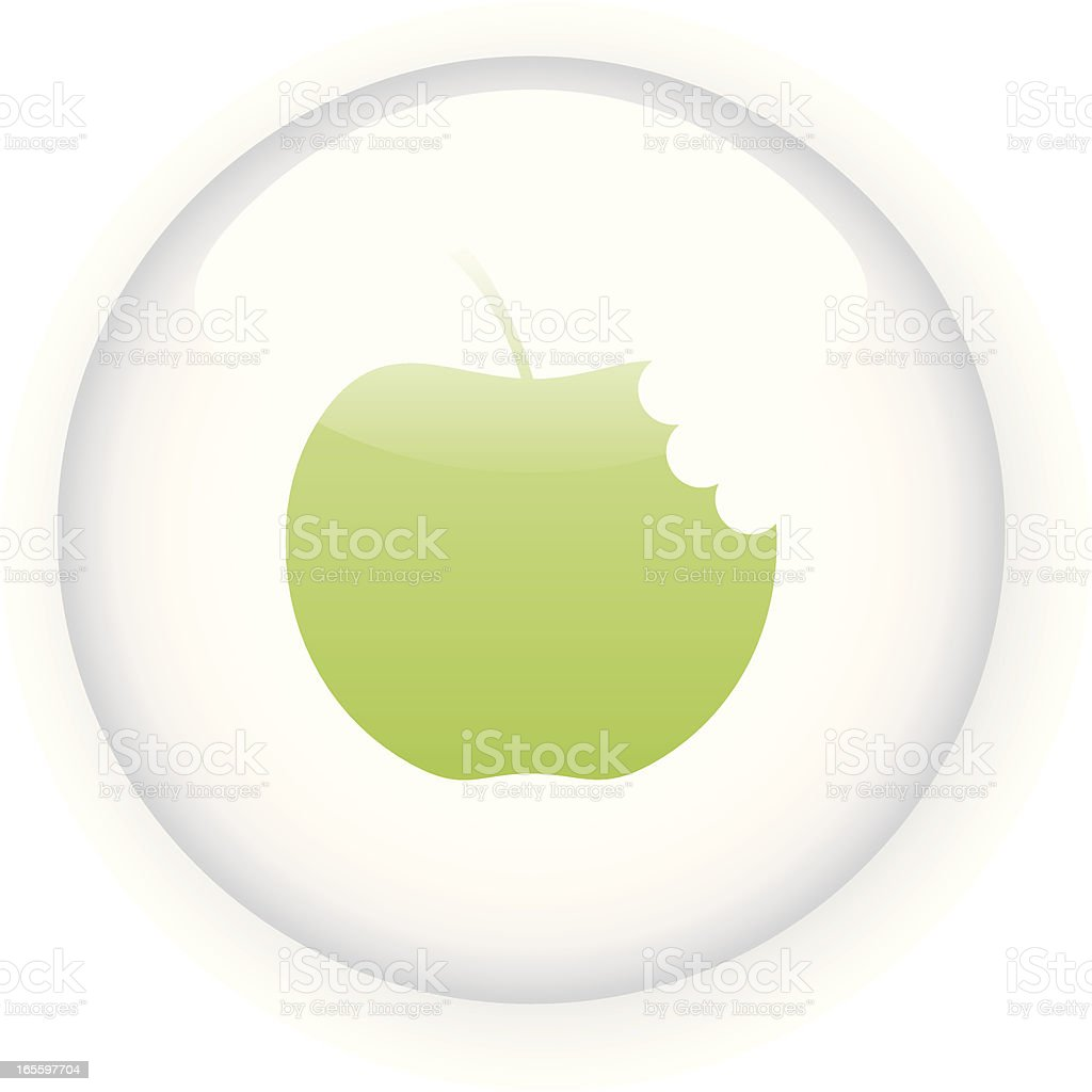 Illustrated green bitten apple icon in button royalty-free illustrated green bitten apple icon in button stock vector art & more images of apple - fruit