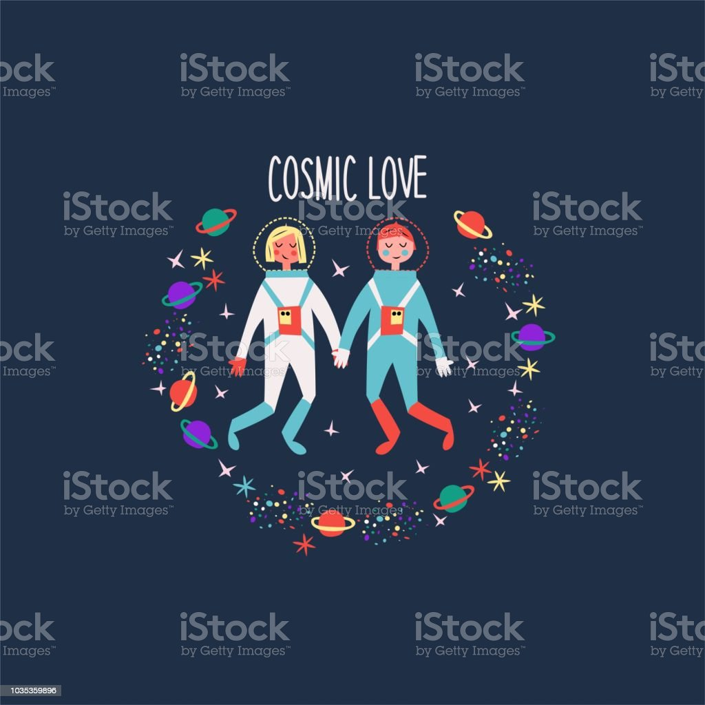 Illustrated greeting card with astronauts for Valentine's day. Happy holiday! vector art illustration