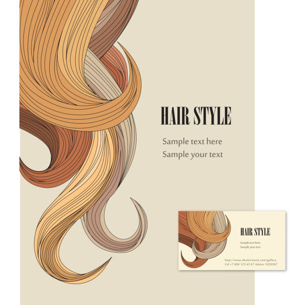stockillustraties, clipart, cartoons en iconen met illustrated hair style background and business card - blond curly hair