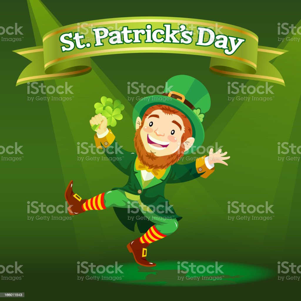 Illustrated happy leprechaun dancing, holding shamrock royalty-free illustrated happy leprechaun dancing holding shamrock stock vector art & more images of adult
