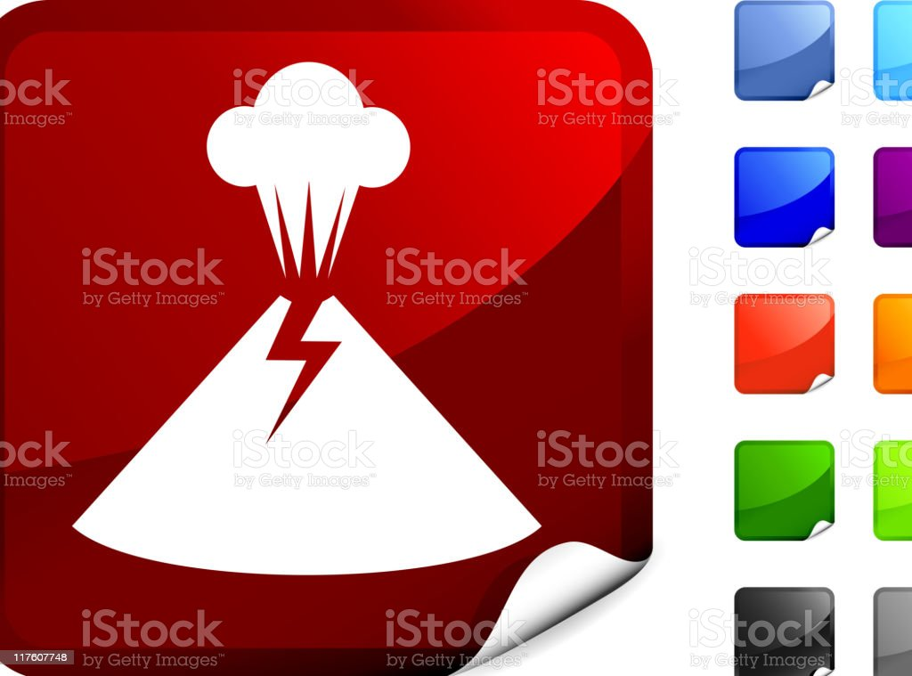 Illustrated Icon of a Volcano on a Red Background royalty-free illustrated icon of a volcano on a red background stock vector art & more images of black color