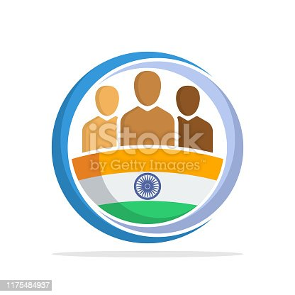 Illustrated icon with the concept of the national community of Indian