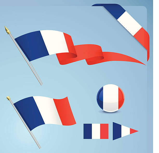 Illustrated icons for the French flag vector art illustration