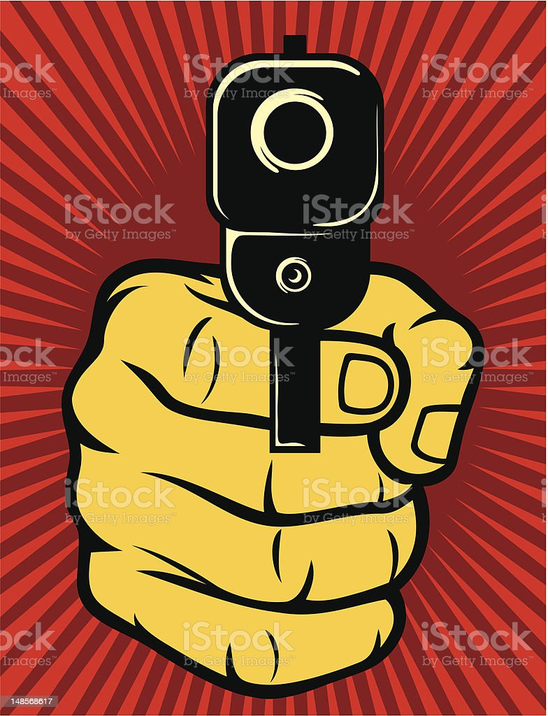 Illustrated image of a hand holding a gun on red background vector art illustration