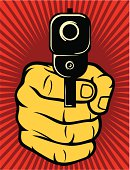 Illustrated image of a hand holding a gun on red background