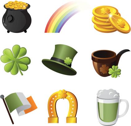 Illustrated Irish symbol icon set