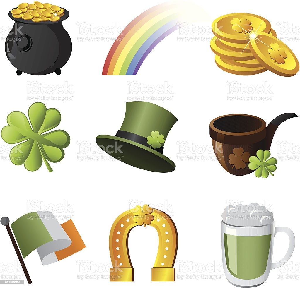 Illustrated Irish symbol icon set vector art illustration