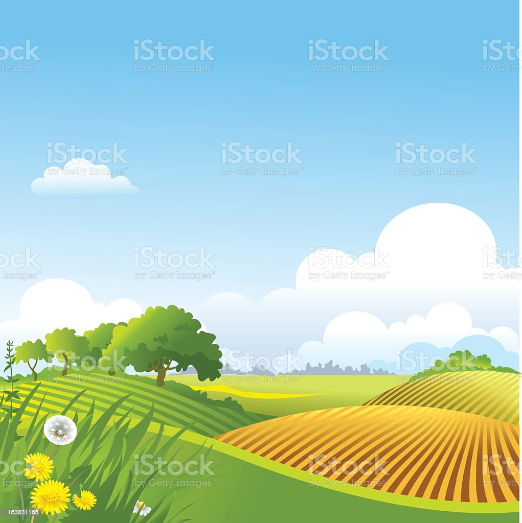Illustrated landscape with hills, trees and blue sky royalty-free stock vector art