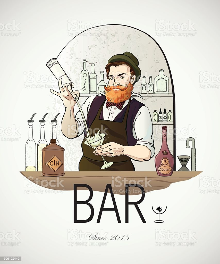 Illustré logo Barman de travail - Illustration vectorielle
