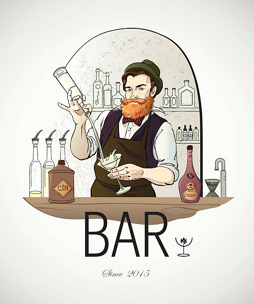 Illustrated logo - Barman in work vector art illustration