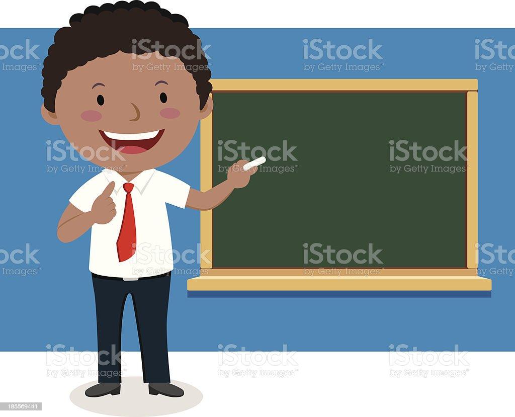 royalty free male teacher at blackboard clip art vector images rh istockphoto com Cartoon Classroom with Teacher Pointing at Blank Chalkboard Chalkboard Teacher Pointer Clipcart