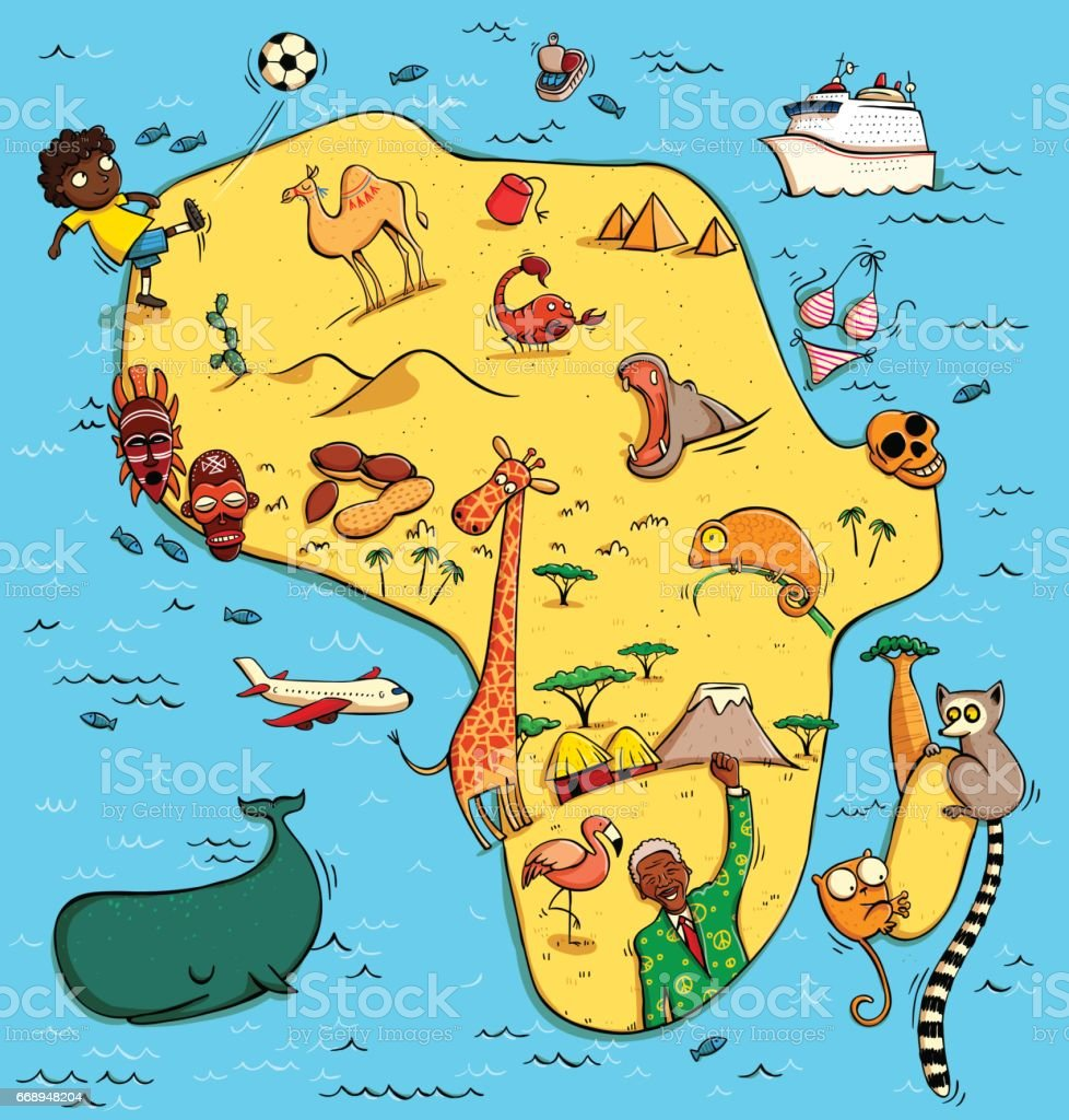 Illustrated Map Of Africa Stock Vr Art und mehr Bilder von ... on