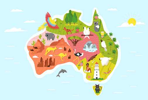 Illustrated map of Australia with symbols and animals. Bright design for tourist posters, banners, leaflets, prints
