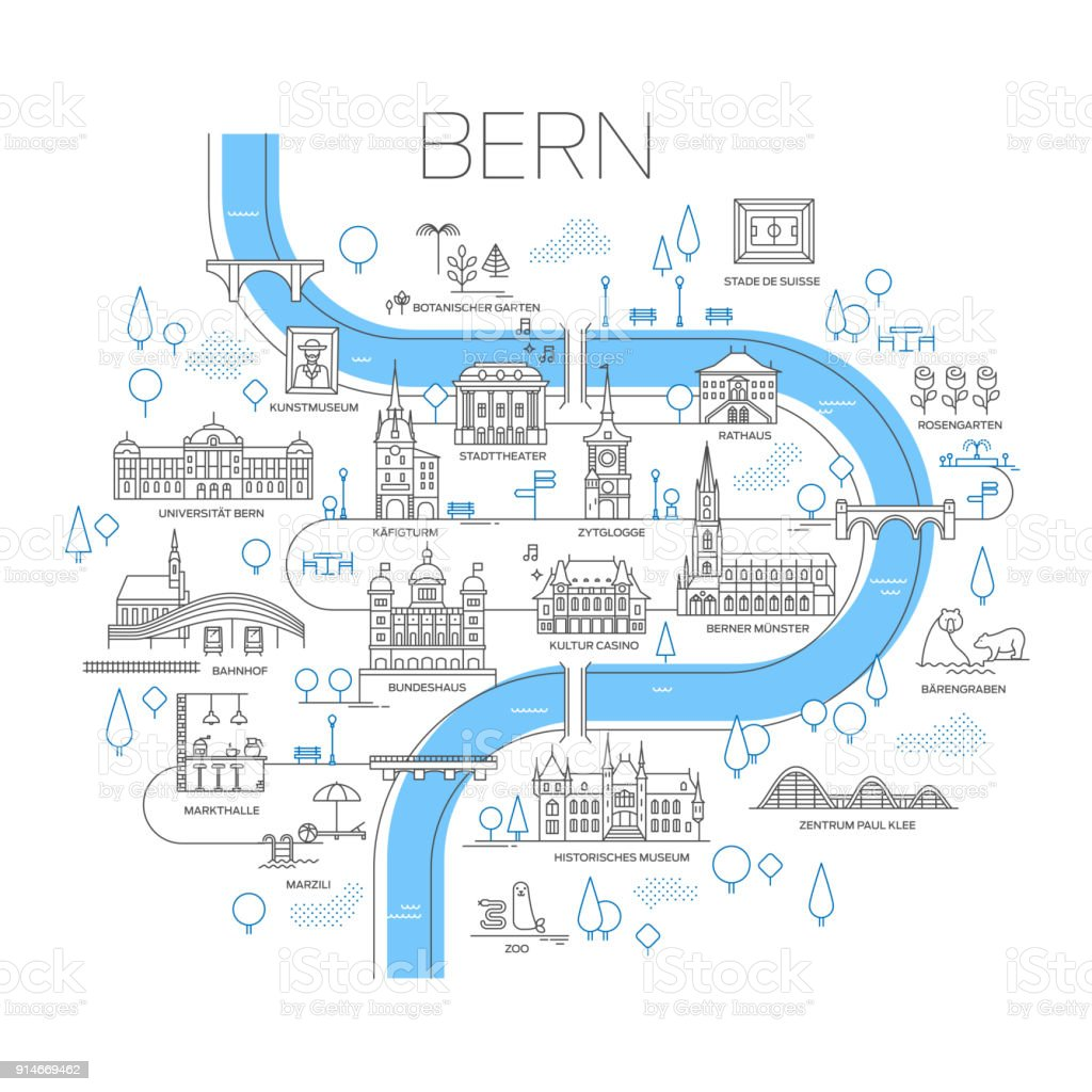 Illustrated Map Of Bern Switzerland Stock Vector Art & More Images ...
